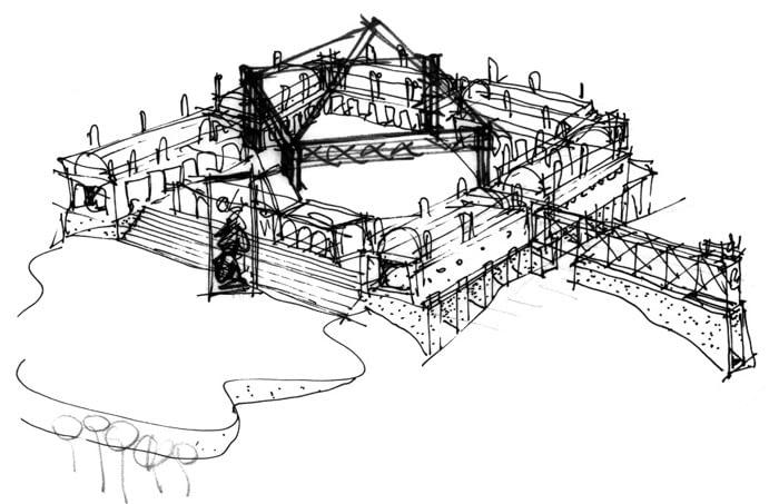 croqui projeto Museu do Homem americano - 1987  Syllvio de Podestá